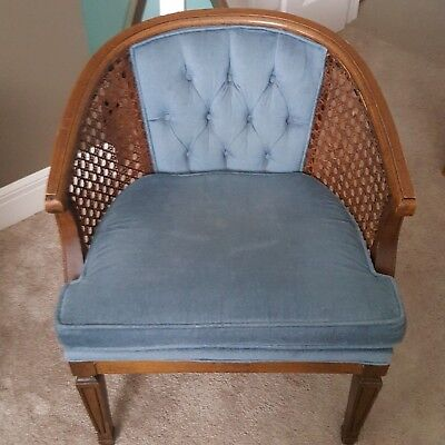 mid century cane barrel chair posture pad 1 vintage modern wood back accent