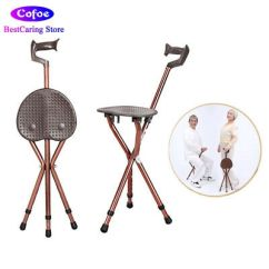 Walking Stick Chair Heavy Duty Living Room Accent Chairs With Ottomans Folding Cane Stool Stadium Easy Fold Seat Aluminium Height Tripod