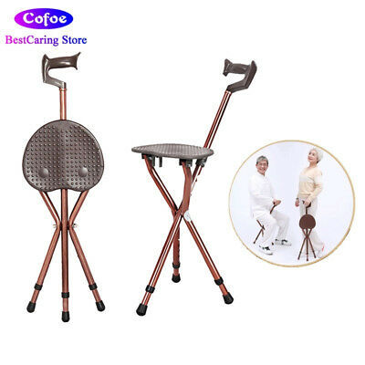 walking stick chair heavy duty outdoor with footrest folding cane stool stadium easy fold seat aluminium height tripod