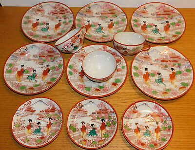 vintage lot ancien tasse assiette en porcelaine japonaise japon fuji japan mug