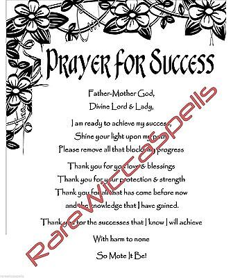 Prayer Blessing for Success for Wicca Book of Shadows