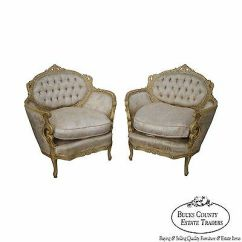 French Bergere Chair Highwood Adirondack Vintage Pair Of Carved Paint Frame Louis Xv Style Chairs
