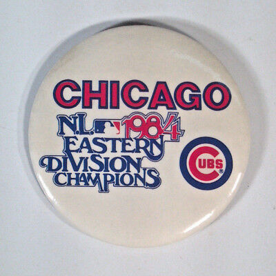 """Vintage 1984 Chicago Cubs Eastern Division Champions Pin 3.5"""" Button Badge MLB"""