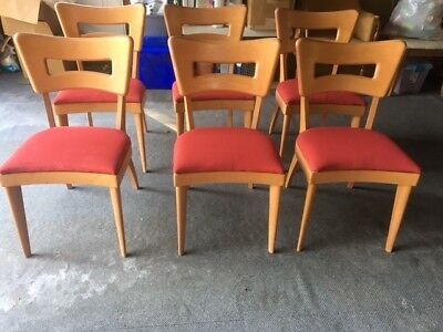 heywood wakefield dogbone chairs navy velvet chair matching set of 6 mid century modern champagne 549 00 picclick