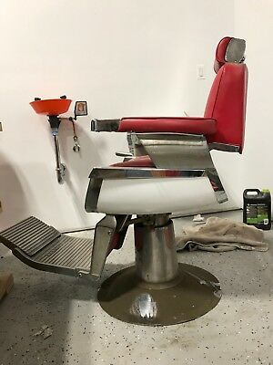 belmont barber chair parts wicker swivel glider vintage 1950 s red 1 650 00 picclick