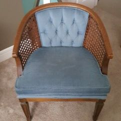 Mid Century Modern Cane Barrel Chairs Fuzzy Chair Covers 1 Vintage Wood Back Accent