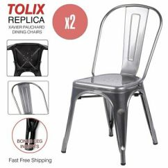 Industrial Bistro Chairs Cowhide Dining Chair Covers 2 X Metal Restaurant Seat Cafe Kitchen Stacking