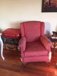 Red chair with arm rests, armchair, lounge  AUD 10.00 ...