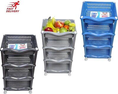 4 tier plastic rattan vegetable fruit rack basket kitchen storage