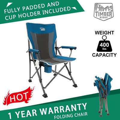 folding quad chair luxury directors camping padded outdoor sports heavy duty w bag support 400lbs