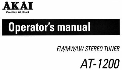 AKAI AM-2250 STEREO Integrated Amplifier Operator's Manual