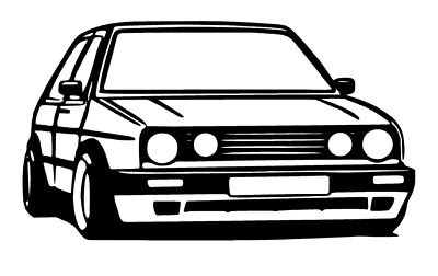 MK2 GOLF GTI Silhouette Car Sticker Outline Decal Vinyl