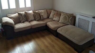 corner sofa dfs martinez kanes sectional sofas large with foot stool in brown and gold