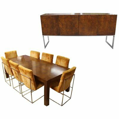 milo baughman dining chairs chair stands exercise mid century modern set table 8 sideboard credenza