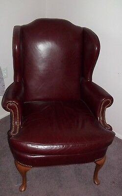 queen anne wingback chair leather cushions canada vintage mahogany wing by hickory 119 00
