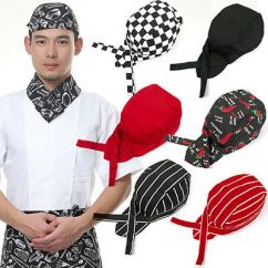 Kitchen Hats Vertical Shelf Dividers Pirate Chef Hat Cap Cooking Caps Cloth Plaid Striped Restaurant Pirates Tableware Professional Catering Various Beamy