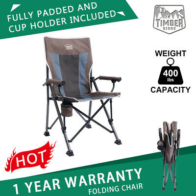 folding quad chair bar chairs at makro timber ridge camping outdoor heavy duty padded with carry bag