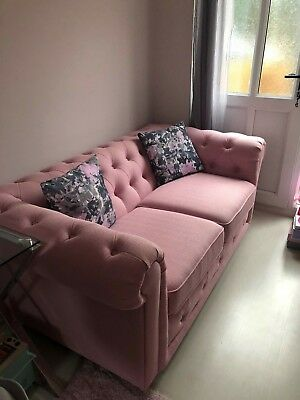 chesterfield style fabric sofa yellow velvet uk beautiful pink dfs 700 00