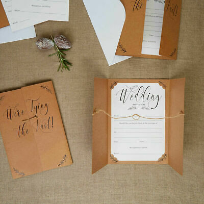 Kraft Wedding Invitations We Re Tying The Knot Rustic Day