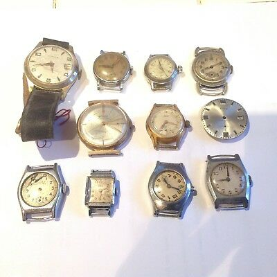 Lot of 11 old broken mechanical vintage watches to restore or for parts