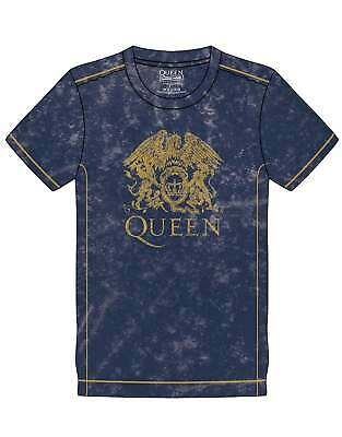 Queen T Shirt Classic Crest Band Logo new Official Mens Navy Blue Snow Wash