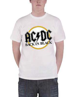 AC/DC T Shirt Back in Black Classic Album Band Logo Official Mens New White S