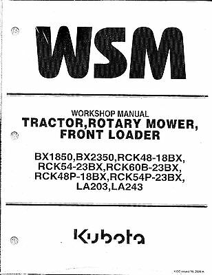 KUBOTA BX23S TRACTOR Workshop Service Manual 9Y111-16502