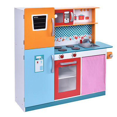 wood kitchen playsets table with storage toy kids cooking pretend play set toddler wooden playset gift new
