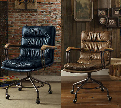 harith high back leather executive chair kneel stool acme vintage blue top grain office whiskey swivel metal