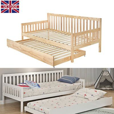 sofa pull out bed frame driftwood table wooden day guest visitor sleepover 3ft single bunk
