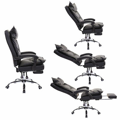 ergonomic chair with footrest overstuffed club chairs executive reclining office high back leather armchair
