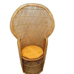 Vintage Peacock Chair Small Kitchen Table And Chairs High Back Rattan Fan Wicker Tiki Bar Sturdy 299 50 Picclick