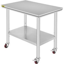 Kitchen Prep Table 5 Piece Set 24 X36 Stainless Steel Work Commercial X 36 With Adjustable Double Overshelf