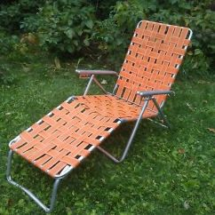 Webbed Chaise Lounge Chairs Kitchen Table With 6 Vintage Aluminum Folding Lawn Chair W Wood Orange