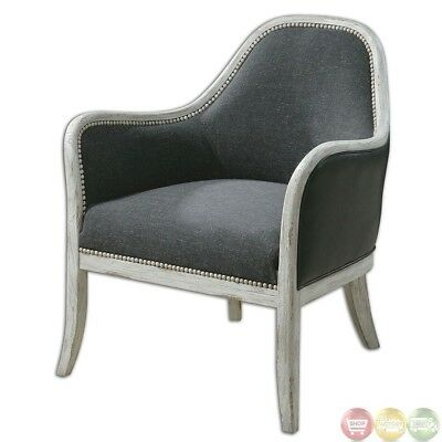 wood frame accent chairs vanity chair cheap dayla linen seat weathered 23181 723 80 picclick