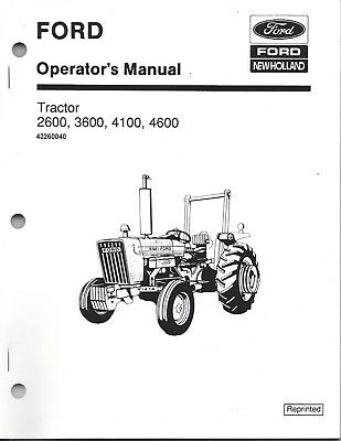 FORD 2600 3600 4100 4600 Tractor Operators Manual Owners