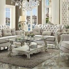 Living Room With Sofa And Two Accent Chairs Home Furniture Sets Ivory Livingroom 495 00 Picclick Versailles Traditional Velvet 3 Piece Formal Set Carved Wood