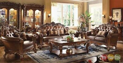 formal living room sofa storage units for uk vendome traditional brown 6 pc set loveseat 3 table carved wood accents