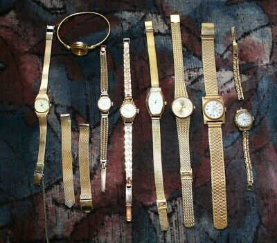 lot of 8 vintage, retro, gold-plated watches + 1 bracelet
