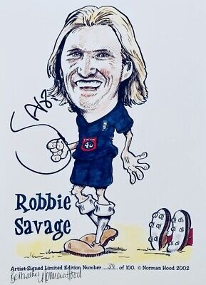 Robbie Savage HAND SIGNED Birmingham City & Wales Caricature Photograph COA