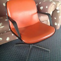 Steelcase Vintage Chair Yellow Wishbone Retro Pollock Design Vinyl Plastic Steel C1965 Vg