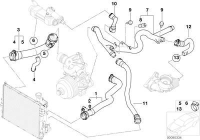 BMW GENUINE COOLING System Water Hose Coolant Return Pipe