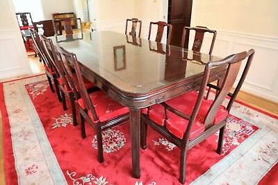 chinese rosewood dining table and chairs chair casters threaded stem authentic set with 8 mint