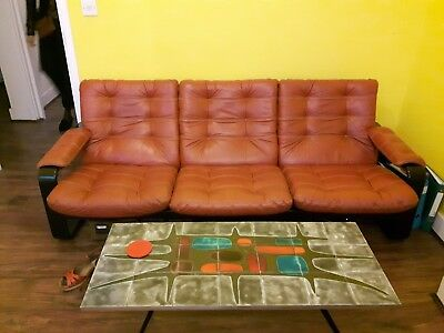70s sofa bean retro by lystolet 3 seater orange leather and dark wooden frame