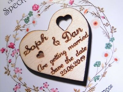 Save The Date Wedding Invitation Magnets Personalised Wood