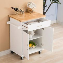 White Kitchen Island Cart Refurbished Appliances Wholesalers Trolley Wood Rolling Storage Cabinet Utility Prep Top