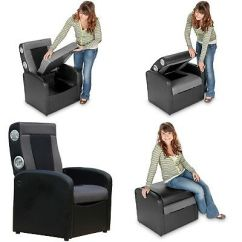 Storage Ottoman Sound Chair Mission Rocking Leather And Wood X Rocker Video Gaming Triple Flip Lounge Seating 2 0 Playing Games