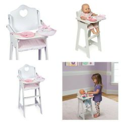 American Girl High Chair Accent Gray And Yellow Baby Doll Food Furniture Accessories Pink White