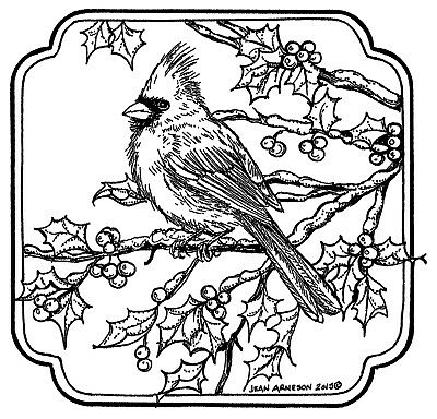 CARDINAL ON HOLLY Branch UNMOUNTED Christmas rubber stamp
