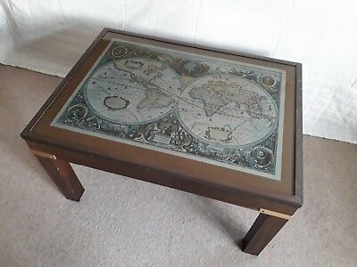 vintage wooden world map coffee table